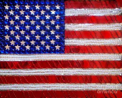 Bead Embroidery Painting - American Flag. Beadwork With Rhinestones  by Sofia Goldberg