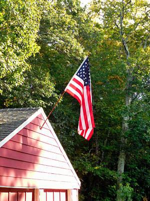 Patriotism Painting - American Flag Hanging Over Garage by Lanjee Chee