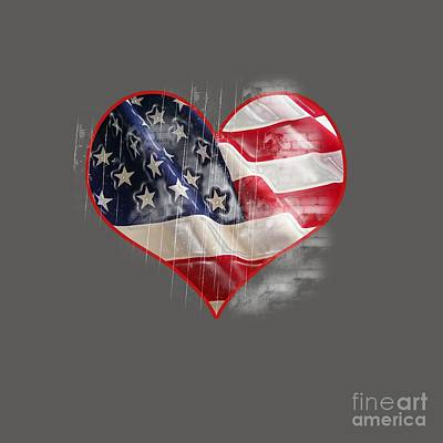 American Flag Heart Original by Frederick Holiday