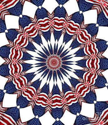 Red White And Blue Photograph - American Flag Kaleidoscope Abstract 4 by Rose Santuci-Sofranko