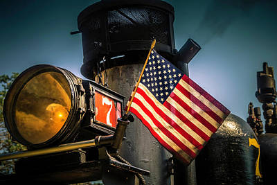 Sonora Photograph - American Flag On Engine Number Seven by Garry Gay