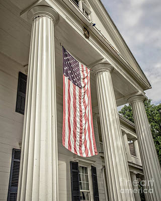 Finger Lakes Photograph - American Flag On Period House by Edward Fielding