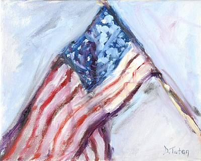 4th Of July Painting - American Flag Painting by Donna Tuten