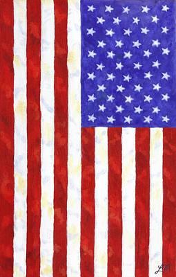 Patriotic Painting - American Flag Vertical by Linda Mears