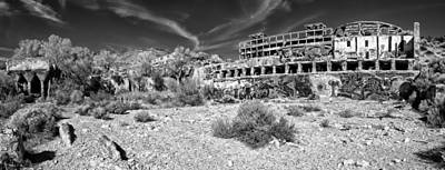 Lodes Photograph - American Flat Mill Virginia City Nevada Panoramic Monochrome by Scott McGuire