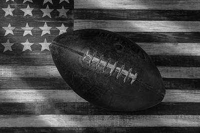 Folk Art American Flag Photograph - American Football Black And White by Garry Gay