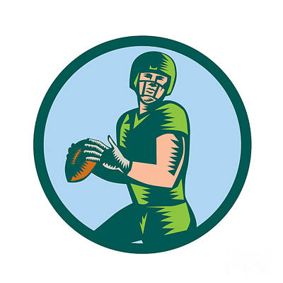 American Football Qb Throwing Circle Woodcut Print by Aloysius Patrimonio