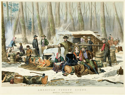 American Forest Scene Maple Sugaring Print by Currier and Ives