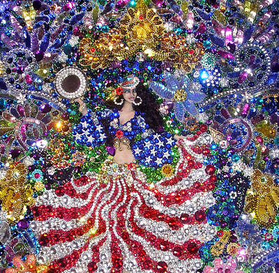 Bead Embroidery Painting - American Gypsy Queen. Beadwork With Rhinestones by Sofia Goldberg