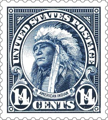 Stamps Drawing - American Indian - Postage Stamp by Pg Reproductions
