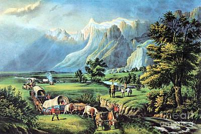Wagon Train Photograph - American Manifest Destiny, 19th Century by Photo Researchers