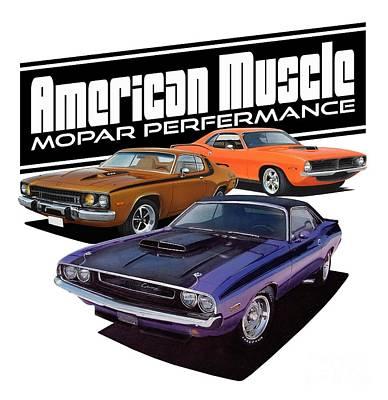 Roadrunner Mixed Media - American Mopar Muscle by Paul Kuras