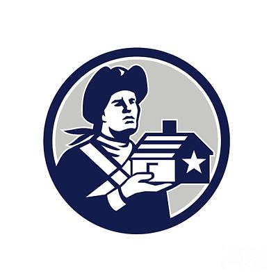 American Patriot Holding House Circle Retro Print by Aloysius Patrimonio