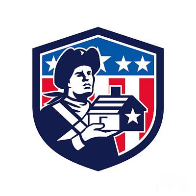 American Patriot Holding House Flag Crest Retro Print by Aloysius Patrimonio