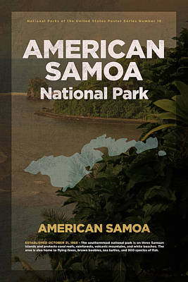 National Parks Mixed Media - American Samoa National Park Travel Poster Series Of National Parks Number 16 by Design Turnpike