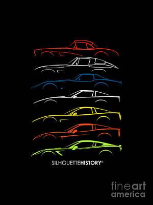 American Sports Car Silhouettehistory Print by Gabor Vida