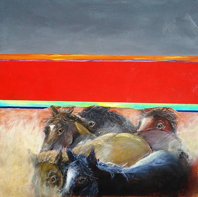 Wild Horse Painting - American Wild Horses Herded To Slaughter by Paul Miller