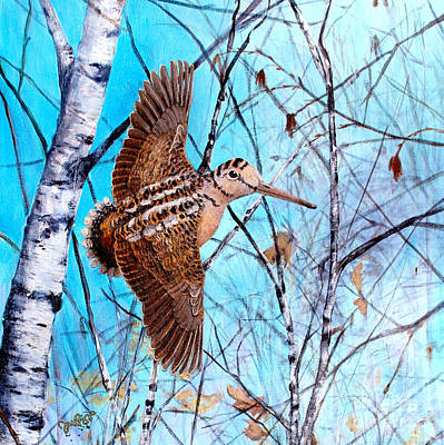 Woodcock Painting - American Woodcock by Joe Rizzo