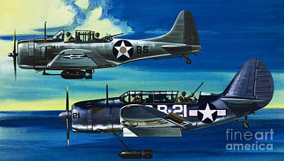 Airplane Painting - American Ww2 Planes Douglas Sbd1 Dauntless And Curtiss Sb2c1 Helldiver by Wilf Hardy