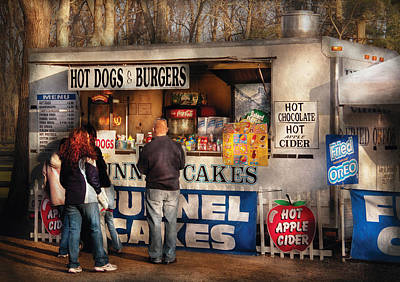 Americana - Food - Hot Dogs And Funnel Cakes Print by Mike Savad