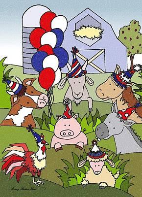 Donkey Mixed Media - Americana Country Life Party by Sherry Holder Hunt