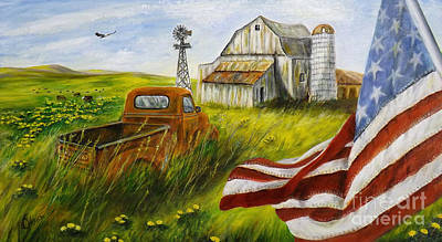 4th Of July Painting - Americana by Donna Vesely