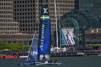 New York City Skyline Photograph - Americas Cup Artemis Racing Nyc by Susan Candelario