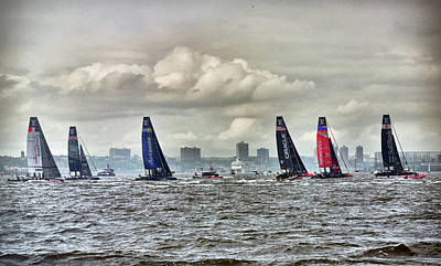 Boat Photograph - America's Cup Contestants In New York Harbor, May 2016 by Sandy Taylor