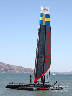 America's Cup In San Francisco - Sweden Artemis Racing Red Sailboat - 5d18249 Print by Wingsdomain Art and Photography