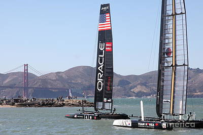 America's Cup Racing Sailboats In The San Francisco Bay - 5d18242 Print by Wingsdomain Art and Photography