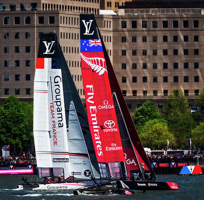 Water Skippers Photograph - America's Cup Team France And New Zealand by Susan Candelario