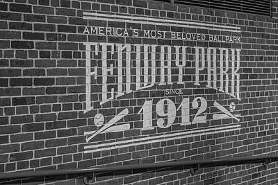 Tools Photograph - America's Most Beloved Ballpark - Fenway Bw by Susan Candelario
