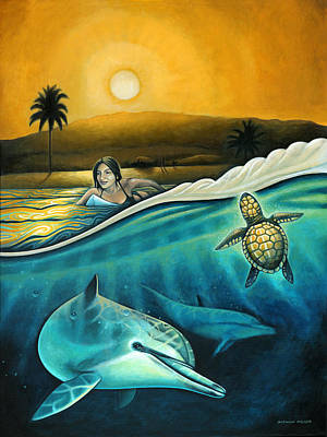 Ocean Turtle Painting - Amigos Del Mar by Nathan Miller