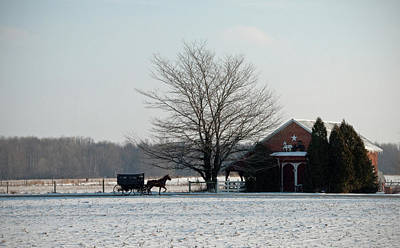 Amish Photograph - Amish Buggy And Old School by David Arment