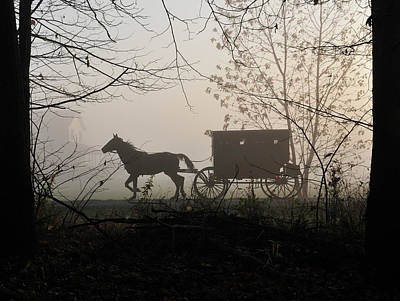 Amish Buggy Foggy Sunday Print by David Arment