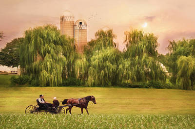 Rural Scenes Mixed Media - Amish Buggy Ride by Lori Deiter
