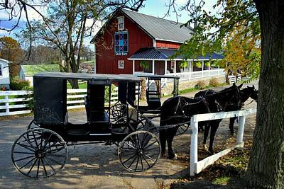 Pennsylvania Dutch Photograph - Amish Country Horse And Buggy by Frozen in Time Fine Art Photography