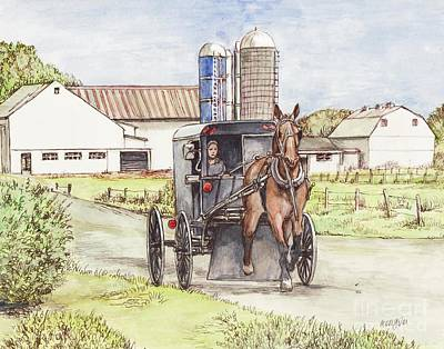 Amish Farms Painting - Amish Farm Horse And Buggy by Morgan Fitzsimons