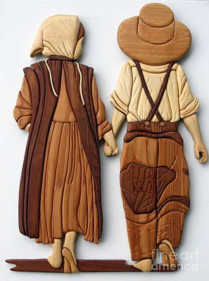 Intarsia Sculpture - Amish Friends by Bill Fugerer