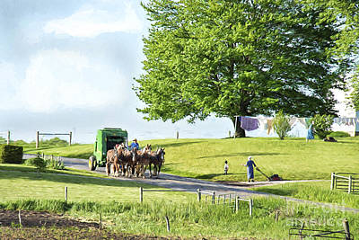 Amish Photograph - Amish Horses Pulling Hay Baler by David Arment