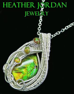 Sterling Silver Jewelry - Ammolite And Sterling Silver Wire-wrapped Pendant With Ethiopian Opals Amltpss4 by Heather Jordan