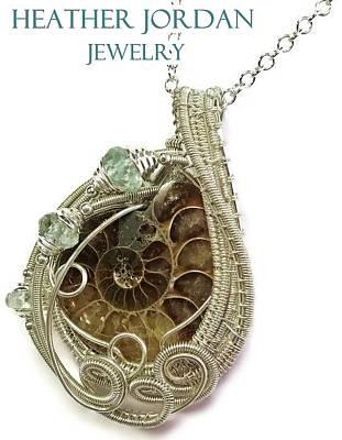 Sterling Silver Wrapped Pendant Jewelry - Ammonite Wire-wrapped Pendant In Sterling Silver With Aquamarine Fapss4 by Heather Jordan
