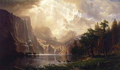 Among The Sierra Nevada Print by Albert Bierstadt