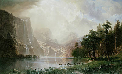 Among The Sierra Nevada Mountains California Print by Albert Bierstadt