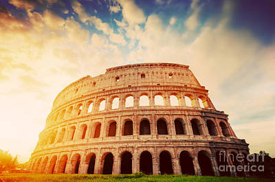 Ancient Photograph - Amphitheatre In Sunrise Light Colosseum In Rome by Michal Bednarek