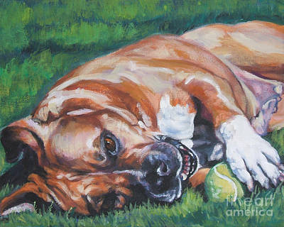 Pitbull Painting - Amstaff With Ball by Lee Ann Shepard