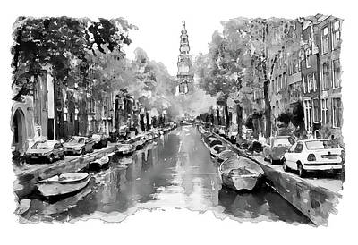 Watercolor Digital Art - Amsterdam Canal 2 Black And White by Marian Voicu