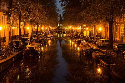 Amsterdam Canal In Golden Yellow Print by Georgia Mizuleva