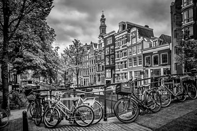 Flower Ring Photograph - Amsterdam Flower Canal Black And White by Melanie Viola