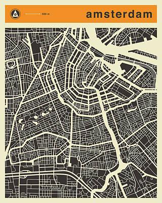 Amsterdam Digital Art - Amsterdam Map by Jazzberry Blue